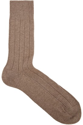Falke Lhasa taupe wool-blend socks
