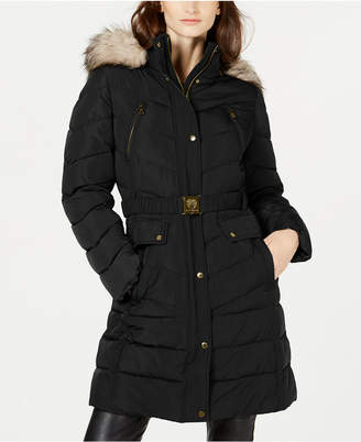 Vince Camuto Hooded Faux-Fur-Trim Belted Puffer Coat