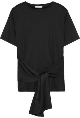 Nina Ricci Tie-front Cotton-jersey And Satin T-shirt