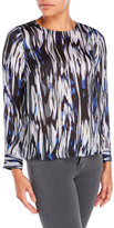 Vince Camuto Petite Brushed Print Blouse