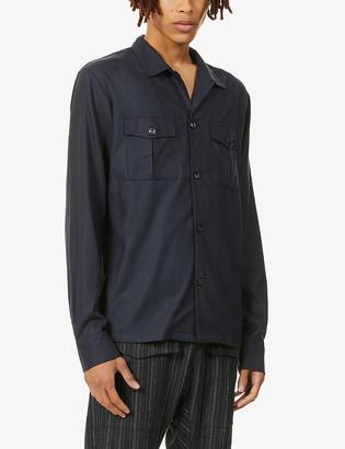 Haidar patch-pocket regular-fit cotton overshirt