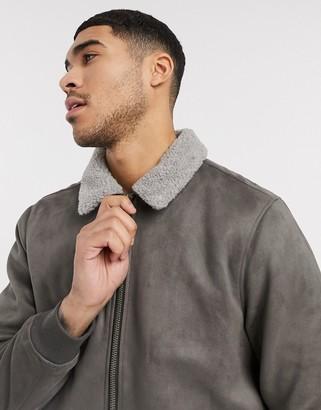 Burton Menswear suedette jacket in grey with borg collar