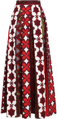 Valentino Pleated Printed Cotton And Linen-blend Maxi Skirt