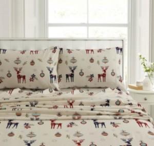 Tribeca Living Holiday Print Heavyweight Flannel Extra Deep Pocket Cal King Sheet Set Bedding