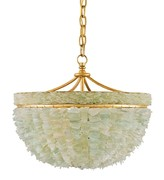 The Well Appointed House Sea Glass and Gold Chandelier