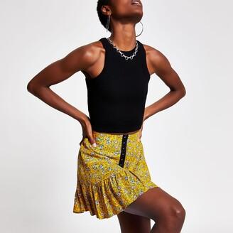 River Island Womens Yellow ditsy floral mini skirt