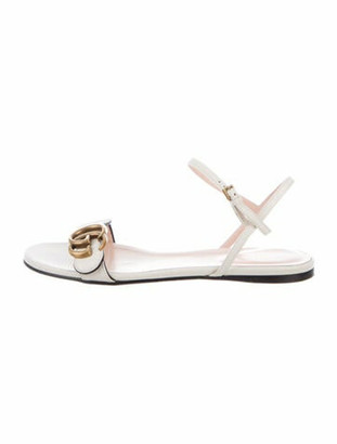 Gucci Double G Logo Leather Slingback Sandals White