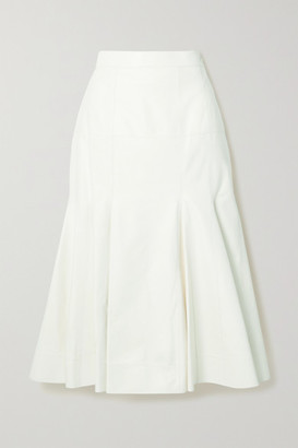 Loewe Pleated Leather Midi Skirt - White