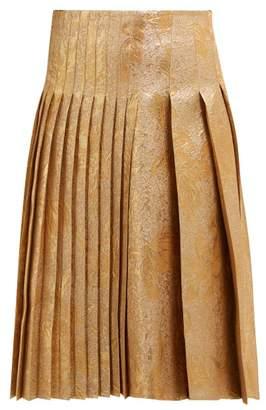 Rochas Metallic Brocade Pleated Skirt - Womens - Gold