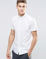 Asos Regular Fit Smart Shirt With Button Down Collar In White