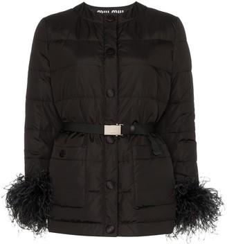 Miu Miu belted feather trim jacket