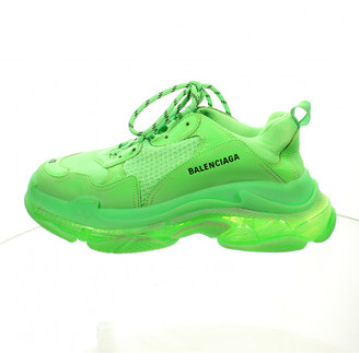Balenciaga Triple S Green Leather Trainers