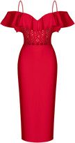Rasario Off-The-Shoulder Crepe And Lace Corset Midi Dress