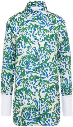 Victoria Victoria Beckham Poplin-paneled Printed Twill Shirt