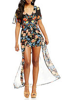 As U Wish V-Neck Floral Print Maxi Romper