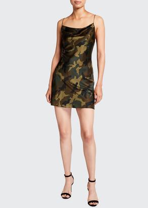 Alice + Olivia Harmony Camo Print Drapey Mini Slip Dress