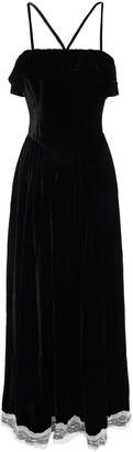 ALEXACHUNG Lace-trimmed Ruffled Velvet Midi Dress