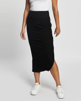 Atmos & Here Atmos&Here - Women's Black Midi Skirts - Elie Ruched Skirt - Size 6 at The Iconic