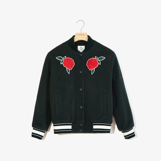 Lacoste Women's LIVE Rose-Embroidered Varsity Jacket