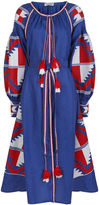 Fanm Mon Blue Linen Aztec Embroidered Dress
