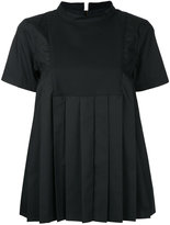 Sacai pleated front top - women - Cotton/Polyester - 1