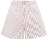 Matthew Adams Dolan - High-rise Striped Cotton-poplin Shorts - Womens - Red White