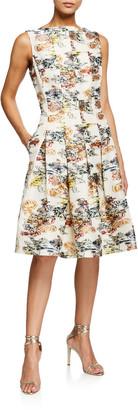Oscar de la Renta Floral Sleeveless Fit-&-Flare Seamed Dress