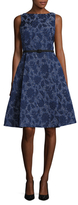 Oscar de la Renta Floral Jacquard Fit And Flare Dress