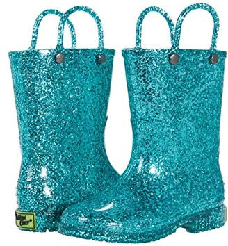 Western Chief Glitter PVC Boot (Toddler/Little Kid) (Mint) Girl's Shoes