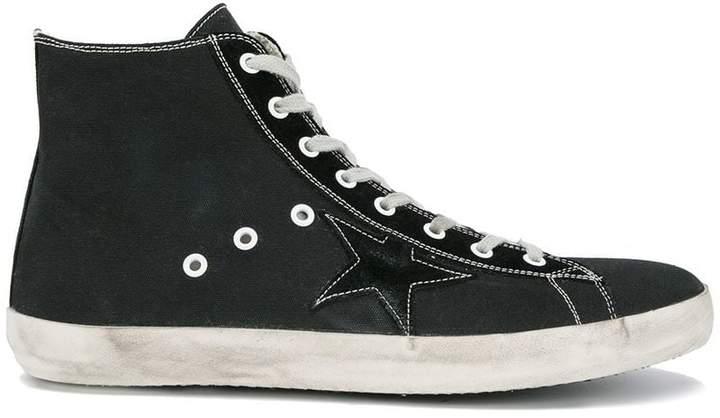 Golden Goose Black Canvas Superstar Hi Top Sneakers