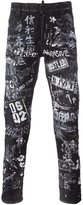 DSQUARED2 graffiti slim-fit jeans - men - Cotton/Calf Leather/Polyester/Spandex/Elastane - 50