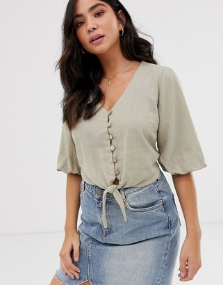 New Look puff sleeve tie front button through top in stone-Tan