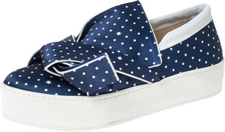 N°21 N21 Blue Polka Dot Satin Knotted Slip On Sneakers Size 38.5