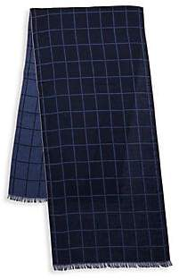 Isaia Men's Check Cashmere & Silk Scarf