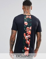 Hype T-Shirt With Rose Print Back Panel