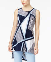 Alfani Mixed-Print High-Low Tunic Top, Created for Macy's