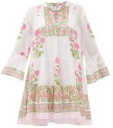 Juliet Dunn Tiered Floral Block-printed Cotton Dress - Womens - Pink White