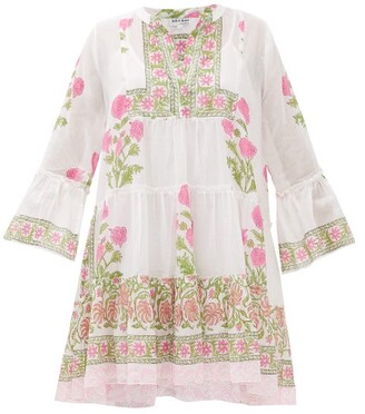 Juliet Dunn Tiered Floral Block-printed Cotton Dress - Pink White