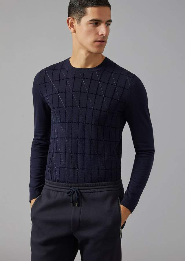 Giorgio Armani Wool Sweater With Cut-Square Flocked Print