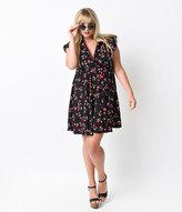 Unique Vintage Plus Size Black Cherry Print Marina Retro Flare Dress