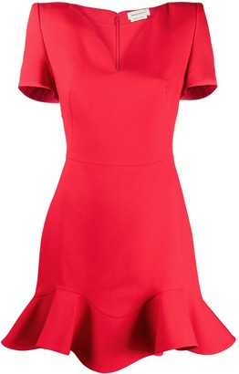 Alexander McQueen V-neck frilled hem dress