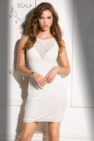 Scala 48708 Illusion Neckline Beaded Cocktail Dress