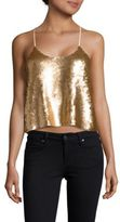 Tibi Eclair Sequinned Cropped Camisole Top