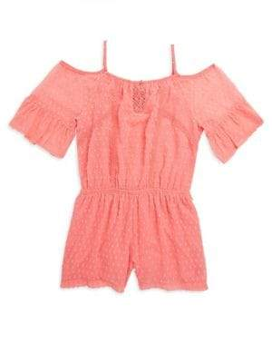 Ella Moss Girls Cold-Shoulder Peasant Bell-Sleeve Romper