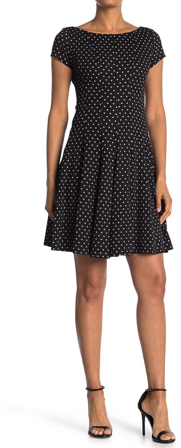 Gabby Skye Polka Dot Fit & Flare Dress