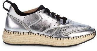Tod's Metallic Leather Espadrille Sneakers