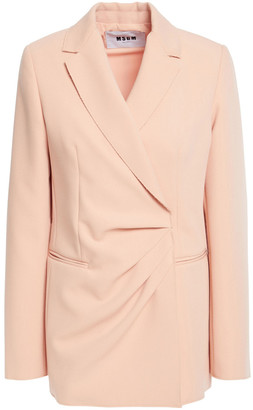 MSGM Double-breasted Pleated Crepe Blazer