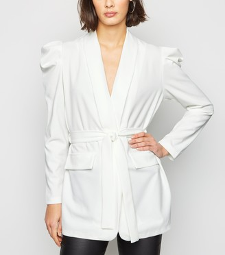 New Look Cameo Rose Puff Sleeve Belted Blazer
