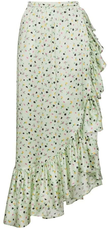 ATTICO Silk Floral Wrap Skirt