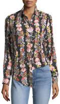 Equipment Essential Botanical Garland Button-Front Floral-Print Shirt